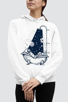 Rock & Roll34 Astro Duş Beyaz Kapşonlu Kadın Sweatshirt