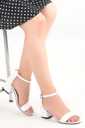 Ayakland Kadın Beyaz Cilt 5 cm Topuk Sandalet Ayakkabı