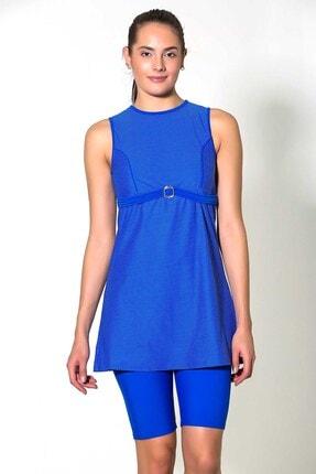 CAMASIRCITY 7229-2 Japone Yarı Kapalı Taytlı Elbise Mayo Sax Mavi