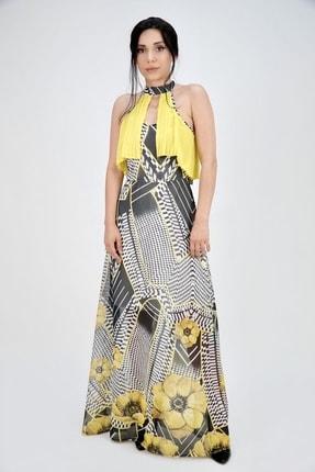 Lila Rose Kadın Sarı Desenli Kolsuz Piliseli Uzun Elbise