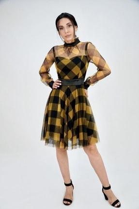 Lila Rose Kadın Sarı Saten Detaylı Tül Elbise