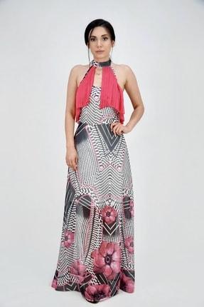 Lila Rose Kadın Fuşya Desenli Kolsuz Piliseli Uzun Elbise