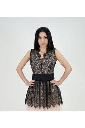 Lila Rose Kadın Pudra Dantelli Kolsuz Bluz
