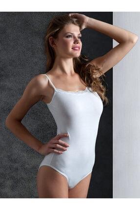 Miorre Kadın Beyaz Dantelli Çıtçıtlı Body