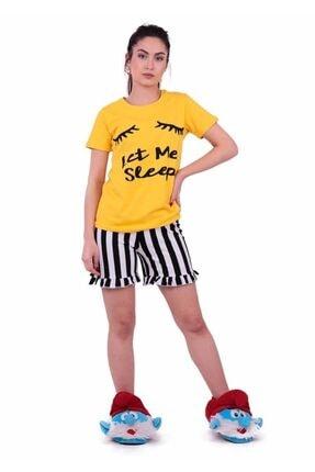 Jiber Kadın Sarı Şortlu Pijama Takımı 3601