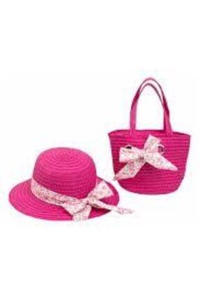 Bay Şapkaci Hasır Fiyonklu Şapka Çanta Takım