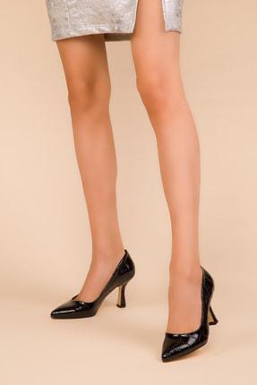SOHO Siyah Rugan Kroko Kadın Klasik Topuklu Ayakkabı 15286