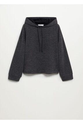 Mango Kadın  Koyu Eflatun Rengi Kırçıllı Geniş Kesim Sweatshirt