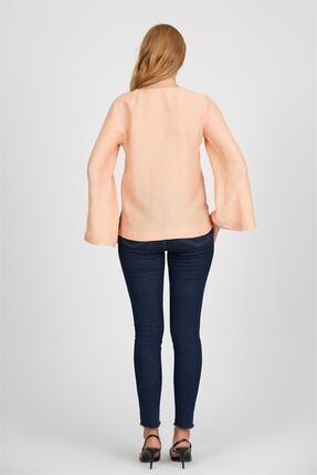 Setre Kadın Somon Yaka İspanyol Kol Düz Kesim Düğmeli Keten Bluz ST050S3025701