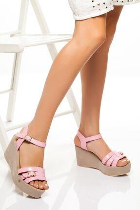 derithy -dolgu Topuklu Ayakkabı-pudra Rugan