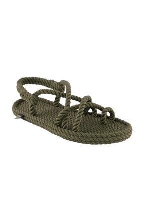 NOMADIC REPUBLIC Kadın Haki İbiza Halat  Ip Sandalet