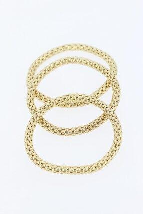 Accessories Gold Renk Metal Üçlü Bayan Bileklik Bb1831