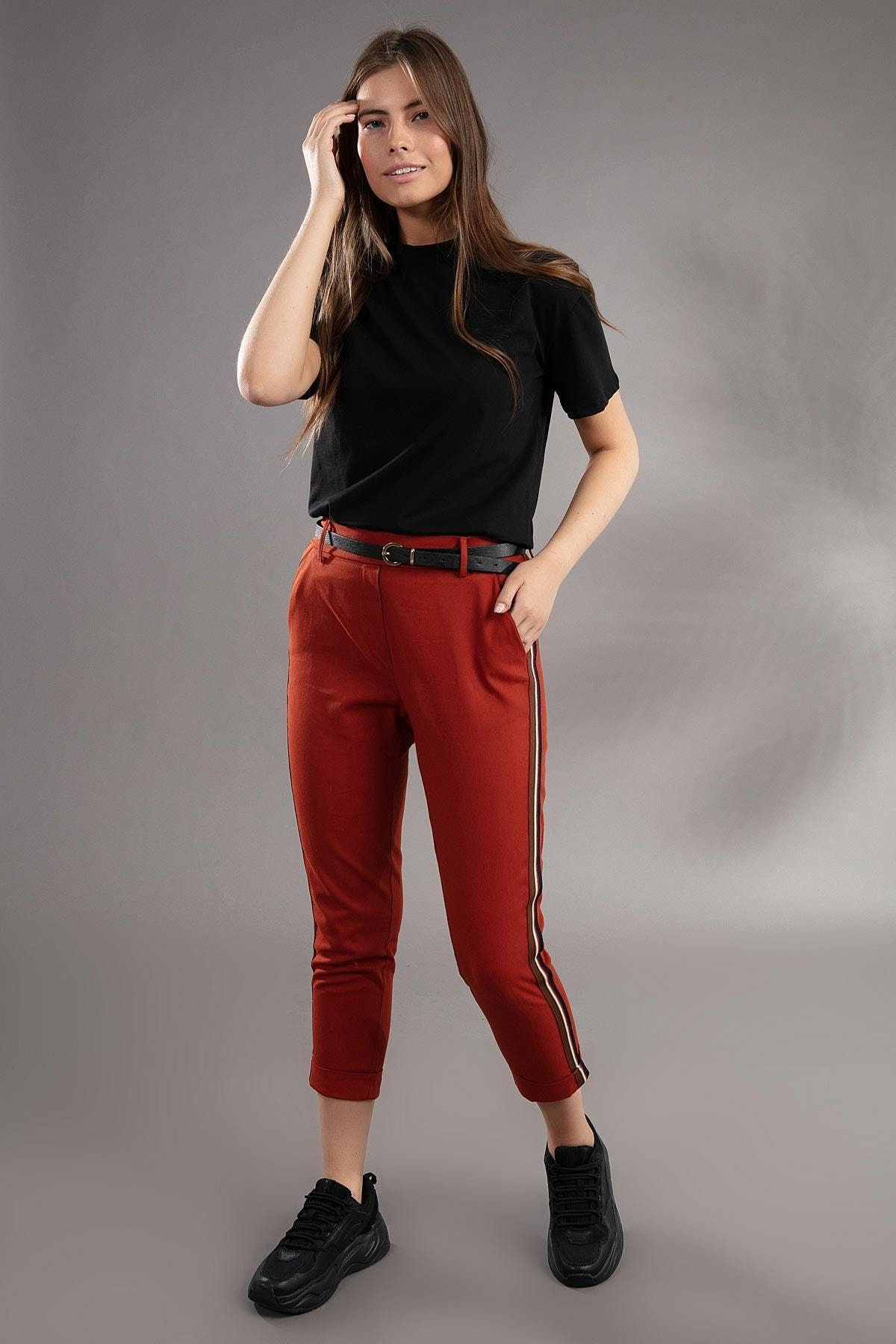 Y-London Kadın Şerit Detaylı Havuç Kesim Pantolon 39529