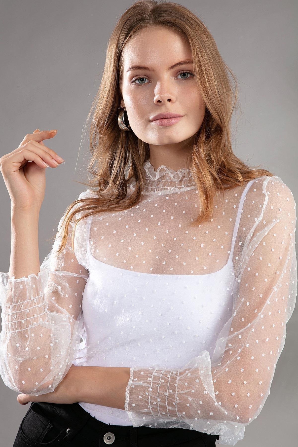 Y-London Kadın Puantiyeli Astarsız Transparan Tül Bluz F312