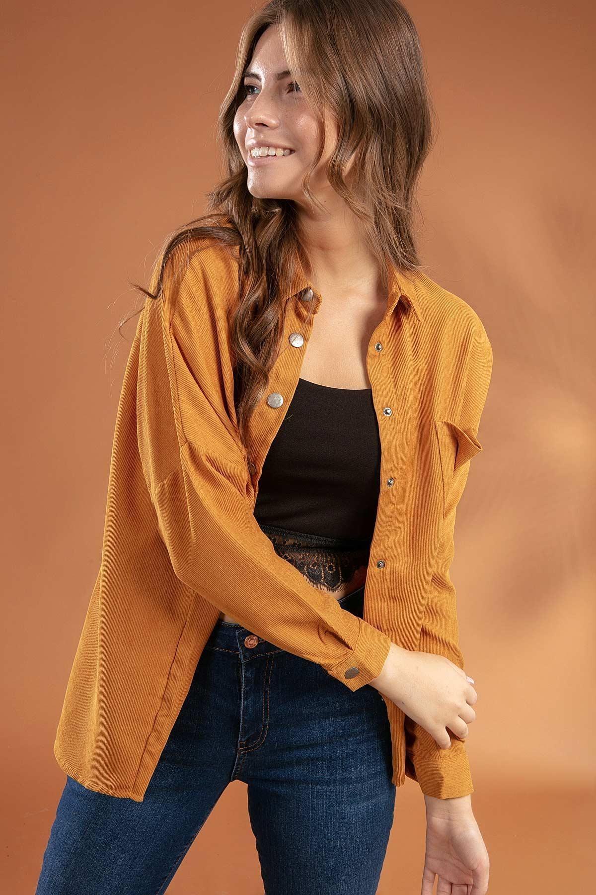 Y-London Kadın Safran Cepl Fitillii Kadife Çıtçıt Detaylı Yarasa Kol Gömlek 30609 Y19W109-30609
