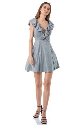 Keikei Kadın Gümüş Renk Parıltılı Kolsuz Kısa Elbise