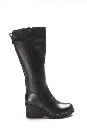 Fast Step Hakiki Deri Kürklü Siyah Kadın Dolgu Topuk Çizme 407kza3314
