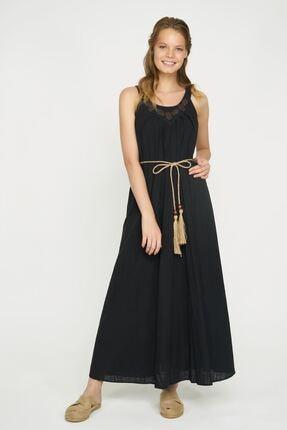 Batik Kadın Siyah Uzun Bel Detaylı Elbise