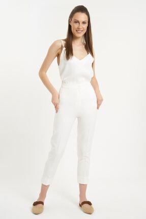 Batik Kadın Beyaz Dkm Duz Casual Pantolon Y10536