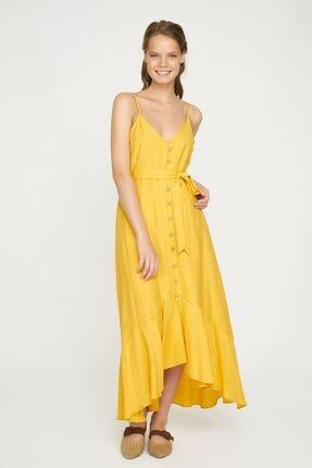 Batik Kadın Sarı Düğme Detaylı Askılı Elbise