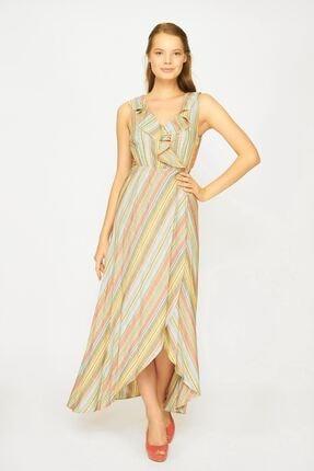 Batik Kadın Yeşil Y42687 Dkm Çizgili Casual Elbise