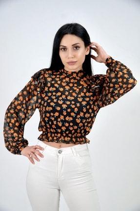 Lila Rose Kadın Turuncu Çiçek Detaylı Tül Bluz