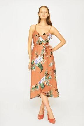 Batik Kadın Taba Çiçek Desenli Elbise Y42722
