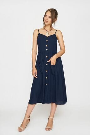 Batik Kadın Lacivert Düz Casual Elbise Y42819 Dkm
