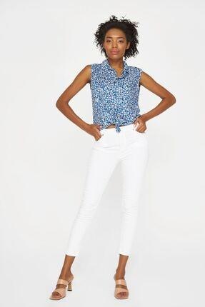 Batik Kadın Mavi Desenli Kolsuz Bluz