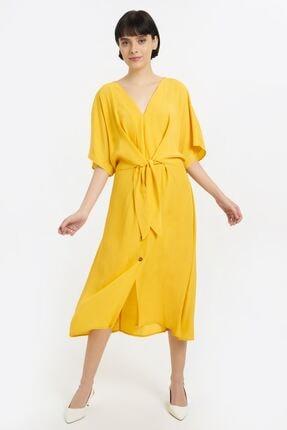 Batik Kadın Sarı Dkm Duz Casual Elbıse Y10643