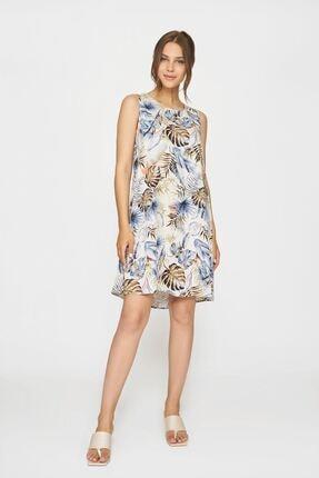 Batik Kadın Mavi Desenlı Casual Elbıse