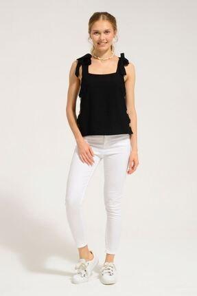 Batik Kadın Siyah Düz Casual Bluz KkolY10870 Dkm