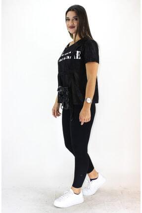 ERDEM Kadın Siyah Çantalı T-shirt 725