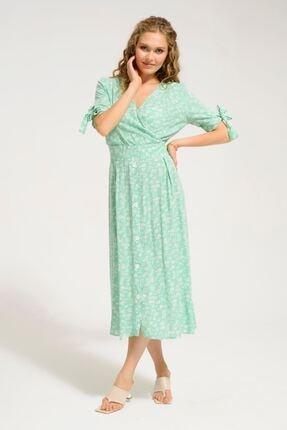 Batik Kadın Yeşil Desenli Casual Elbise Kısa Kol Y42883