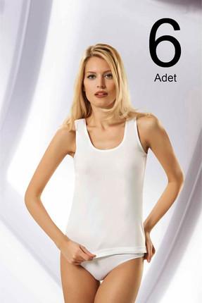 Namaldi Kadın Beyaz 6'lı Paket  Ribana Atlet ELF568N208CCM6