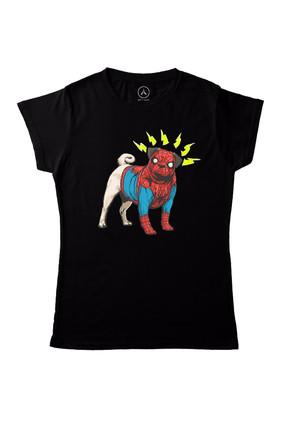 Art T-shirt Kadın Siyah Spıderdog T-Shirt ART018267WW