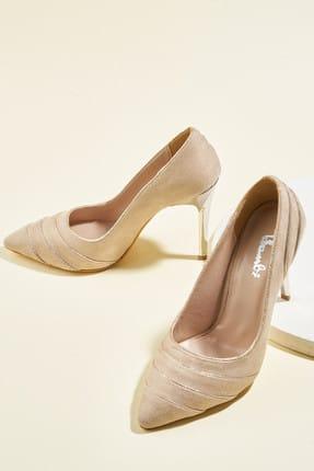 Bambi Vizon Süet Kadın Klasik Topuklu Ayakkabı H0580029365