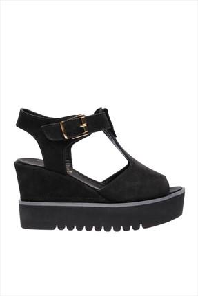 İnci Hakiki Deri Siyah Kadın Dolgu Topuk Ayakkabı 120120281034