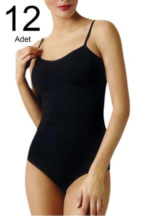 Namaldi Kadın Siyah 12'li Paket  İp Askılı Kancalı Çıtçıtlı Body ELF568N261CCM12