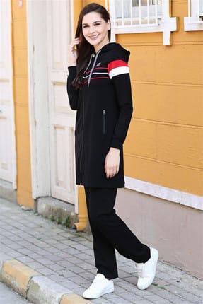 TOMMY LIFE Kapüşonlu Ön Şerit Detaylı Siyah Tunik Takım 95175