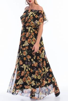 ANGELINO Kadın Çiçek Desenli Şifon Uzun Elbise KL7881d