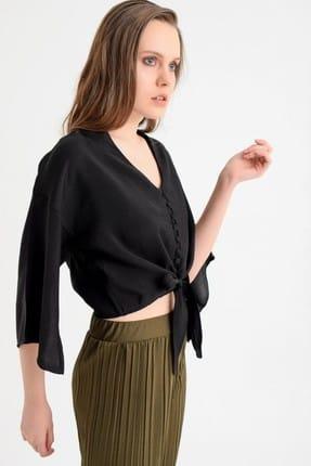 Deppoist Kadın Siyah Siyah Bağcıklı Gömlek P00011659