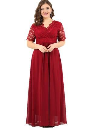 ANGELINO Kadın Bordo Üstü Güpür Şifon Abiye Elbise DD793
