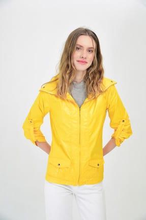 Hanna's Kadın Sarı Cep Ve Ayarlanabilir Kollu Yağmurluk Hn1462