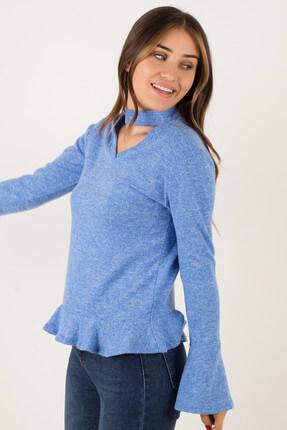 Morpile Kadın Mavi Volanlı Bluz BLZ792