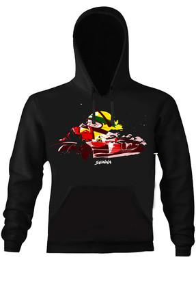 Art T-shirt Kadın Siyah F1 Senna Helmet Kapüşonlu Unısex Sweatshirt ART018582W