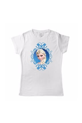 Art T-shirt Unisex Çocuk Beyaz Frozen Elsa Kar Çerçeve Çocuk T-Shirt