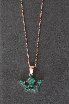 Bella Gloria Kadın Yeşil Taç Rose Gümüş Kolye TGK0285