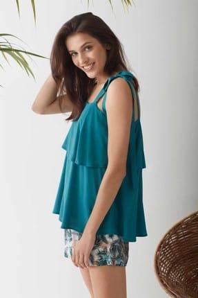 CATHERINE'S Kadın Yeşil Şort Pijama Takım