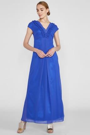 Vekem Kadın Saks Fırfır Detaylı Maksi Şifon Elbise 8109-0157